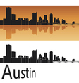 Austin skyline in orange background vector image
