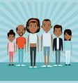 cartoon african men and women community young vector image