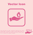 hand holding a fire sign vector image