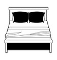 bed wooden with blanket and pair pillows black vector image