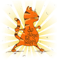Cartoon red cat doing warrior position of yoga vector image