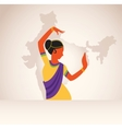 Indian girl wearing traditional clothing dancing vector image