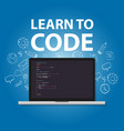 learn to code programming language study practice vector image