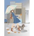 Young woman walking with a dog in the rain vector image