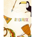Hand-drawn africa music card vector image