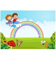 Little kid Operating a Plane with rainbow vector image vector image