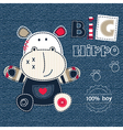 Jeans background with cute hippo Converted vector image