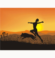 Antics at sunset vector image