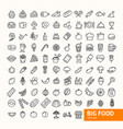big food black thin line icon set vector image