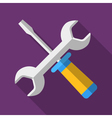 Colorful screwdriver and wrench icon in modern vector image