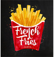 French fies chalk vector image
