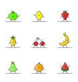 funny fruit characters vector image