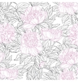 Seamless pattern of pink flowers peonies graphics vector image