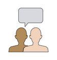 silhouette people with speech bubbles vector image