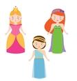 Three Princesses in Cartoon Style Queen vector image