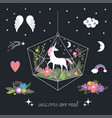 unicorns flowers decor elements fantasy vector image