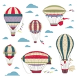 Vintage hot air balloons set for festival vector image