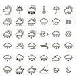 weather forecast signs black thin line icon set vector image