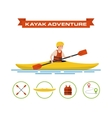 a cartoon kayaker vector image