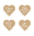 Craft paper hearts cut outs vector image