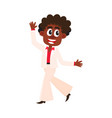 black african american man in retro white suit vector image