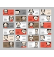 Business cards with people icons sketch for your vector image
