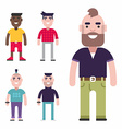 Set of Male Avatars Flat Style Fashion and vector image