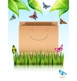 Paper shopping bag under the tree vector image