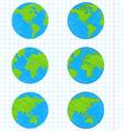 Doodle earth globes set vector image