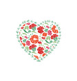 red heart shape with floral pattern for love vector image