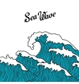 Sea background with abstract hand drawn waves vector image