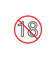 under eighteen line icon adults only content vector image