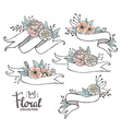 White hand drawn ribbons with peonys and roses vector image