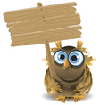 owl and a wooden plaque vector image