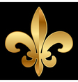 gold Fleur-de-lis ornament on black vector image