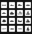 sea transport icons set squares vector image
