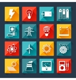 Set of industry power icons in flat design style vector image vector image