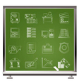 painted with chalk business and office icons vector image vector image