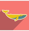 flat icon with long shadow great whale vector image