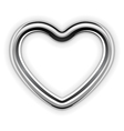 silver metal heart shape vector image vector image