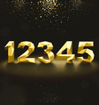 Golden Lowpoly Numbers from 1 to 5 vector image