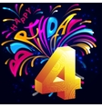 Fireworks Happy Birthday with a gold number 4 vector image