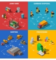 Garbage Recycling Isometric Concept Icons Set vector image