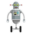 colorful grey robot with two antennas and two vector image