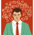 Businessman portrait - thinking man with speech vector image