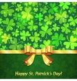 Green shining clovers Patricks Day greeting card vector image