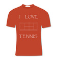 Orange t-shirt with text i love tennis vector image