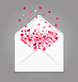 realistc white paper envelope with colorful hearts vector image