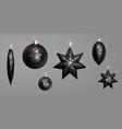 realistic 3d black christmas ball fir toys star vector image