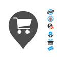 supermarket map marker icon with free bonus vector image